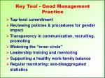 key tool good management practice