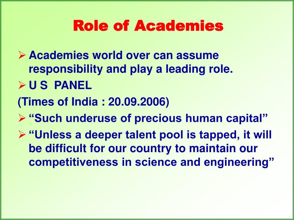 Role of Academies