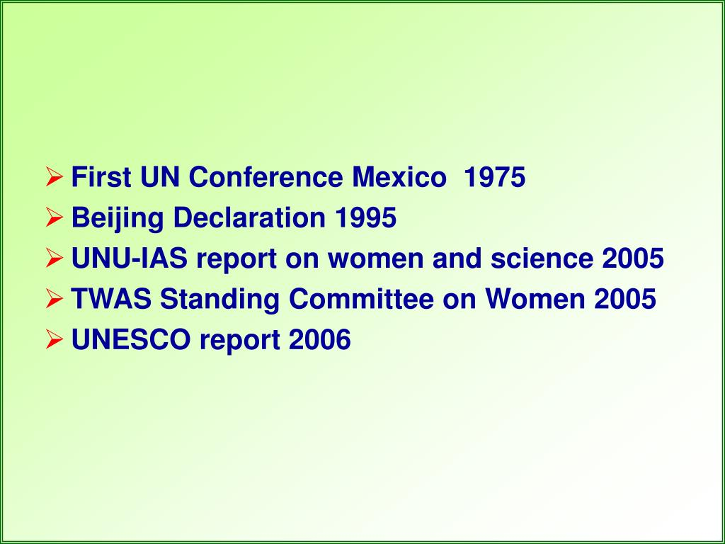 First UN Conference Mexico  1975