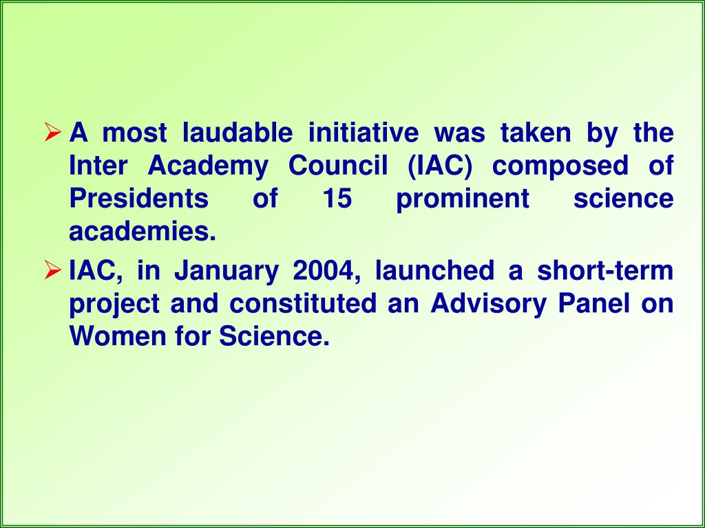 A most laudable initiative was taken by the Inter Academy Council (IAC) composed of Presidents of 15 prominent science academies.