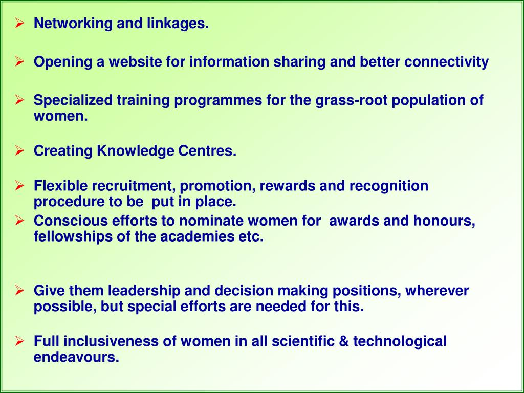 Networking and linkages.