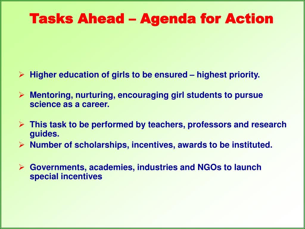Tasks Ahead – Agenda for Action