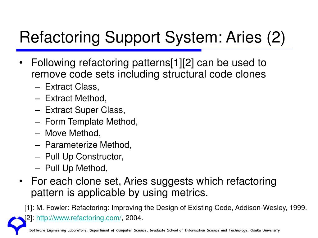 Refactoring Support System: Aries (2)