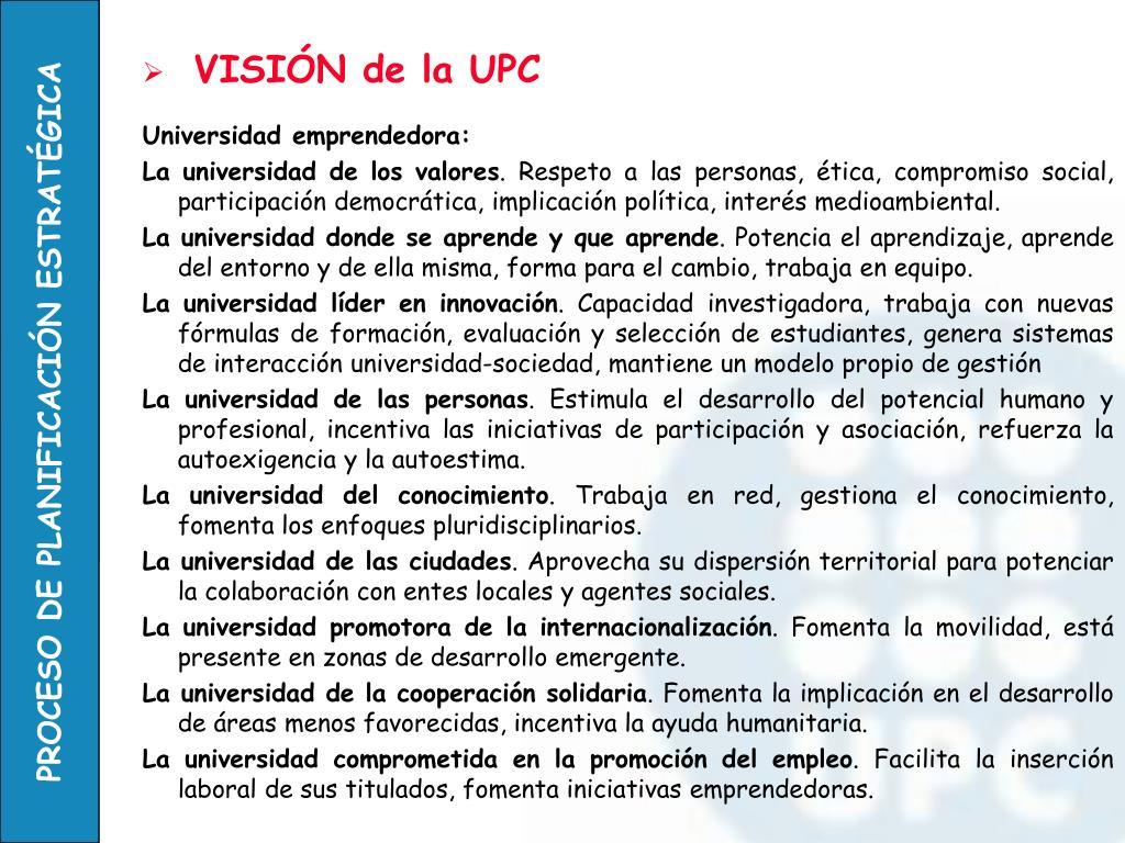 VISIÓN de la UPC