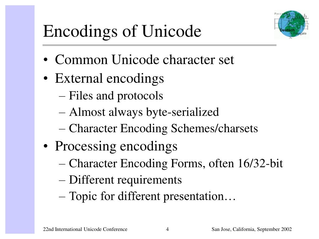 Encodings of Unicode