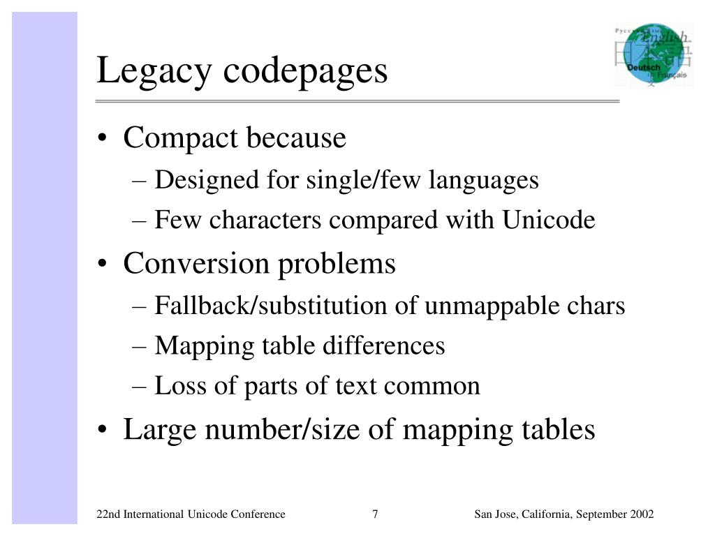 Legacy codepages
