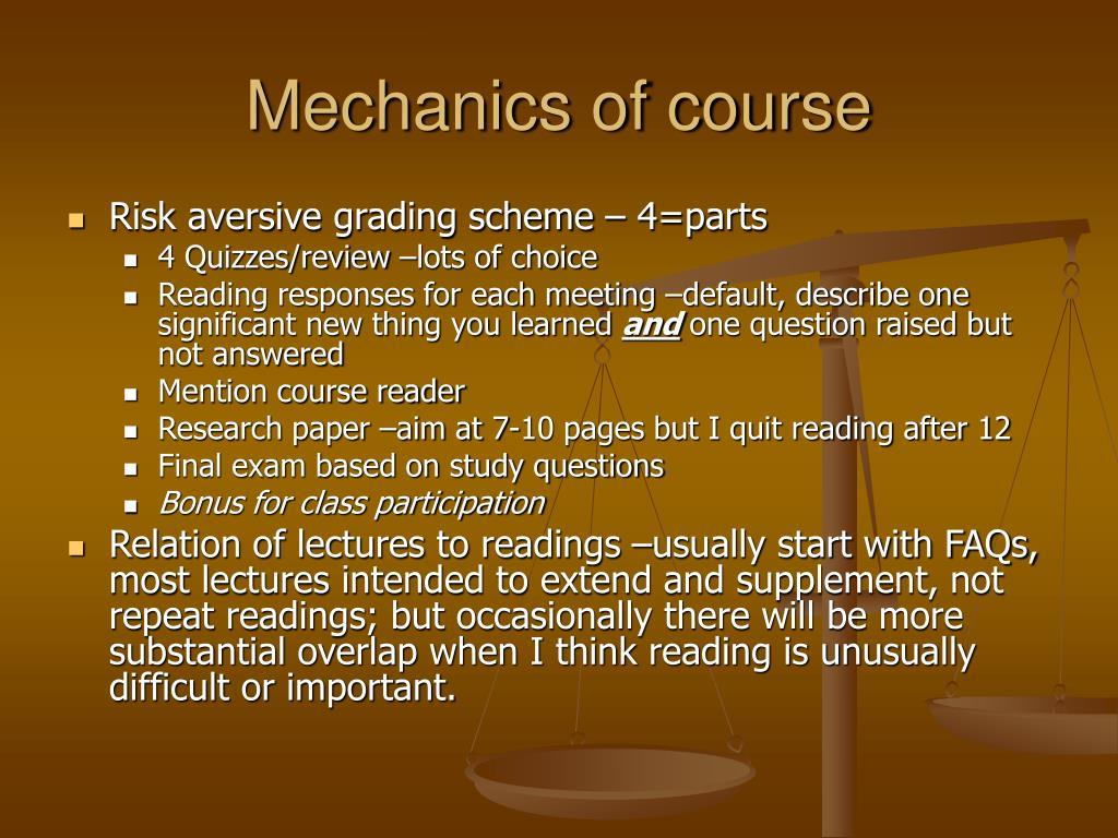 Mechanics of course