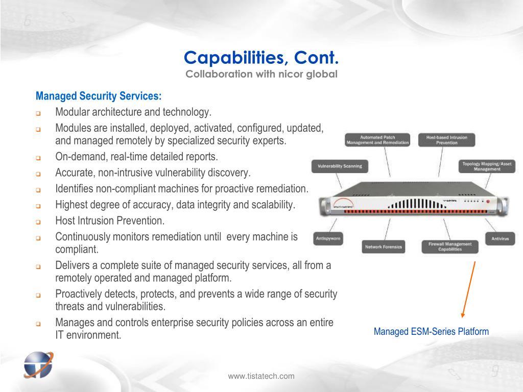 Capabilities, Cont.