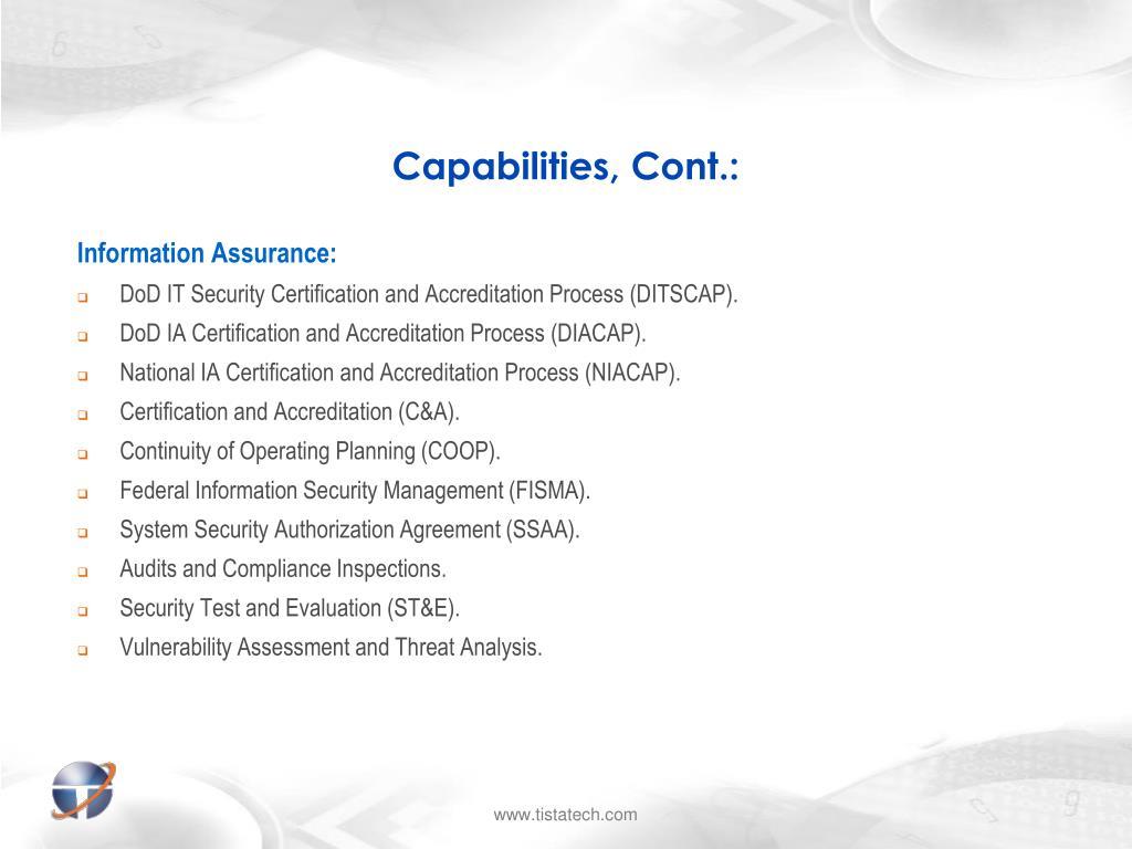 Capabilities, Cont.: