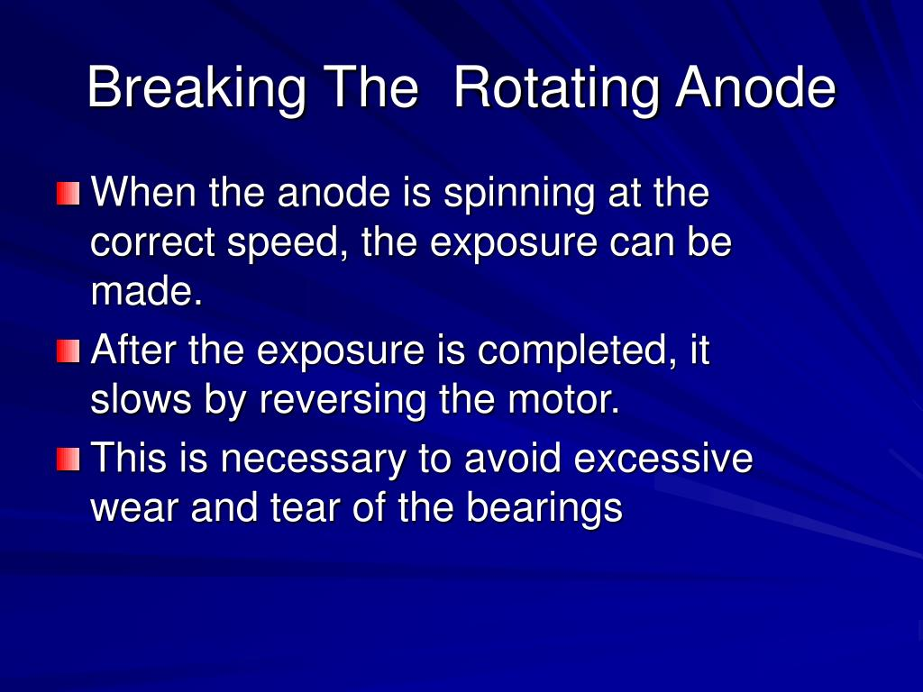 When the anode is spinning at the correct speed, the exposure can be made.