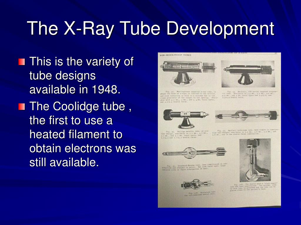 This is the variety of tube designs available in 1948.