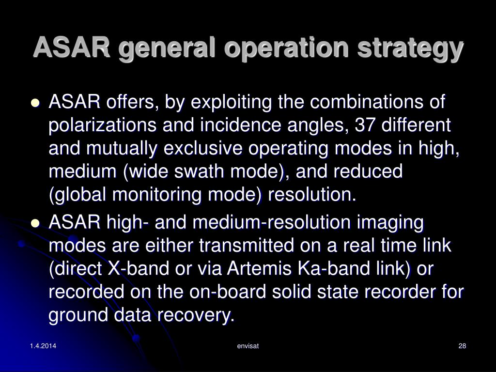 ASAR general operation strategy