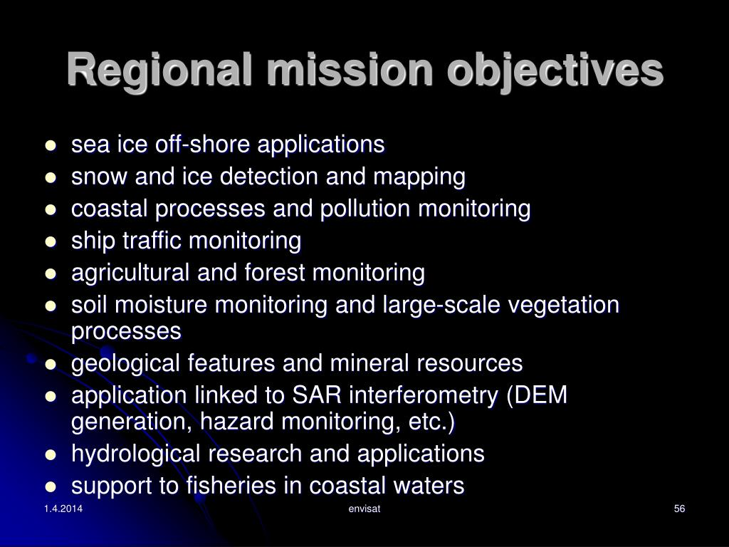 Regional mission objectives