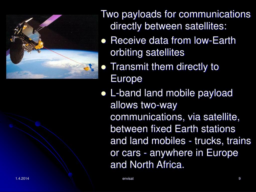 Two payloads for communications directly between satellites: