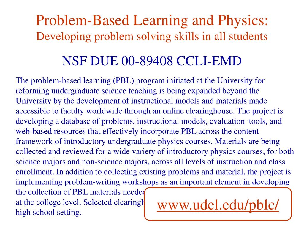 Problem-Based Learning and Physics: