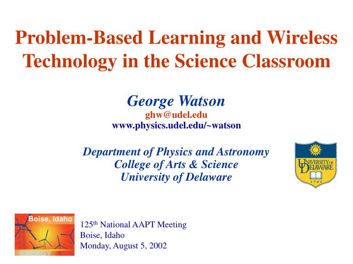 Problem based learning and wireless technology in the science classroom