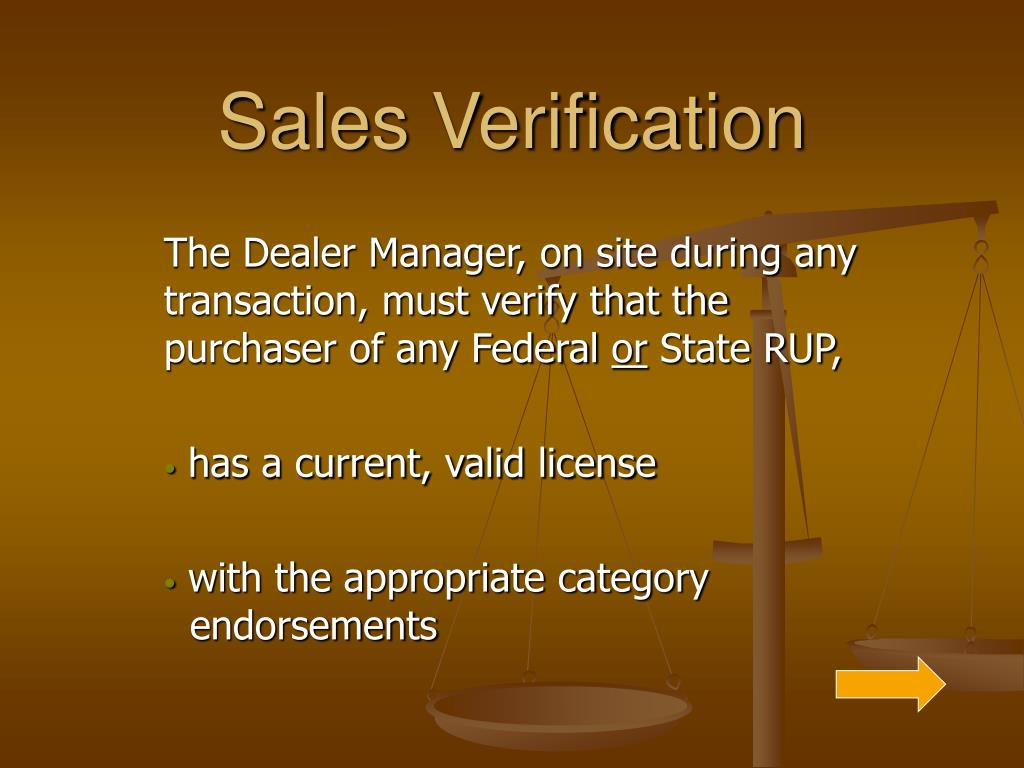 Sales Verification