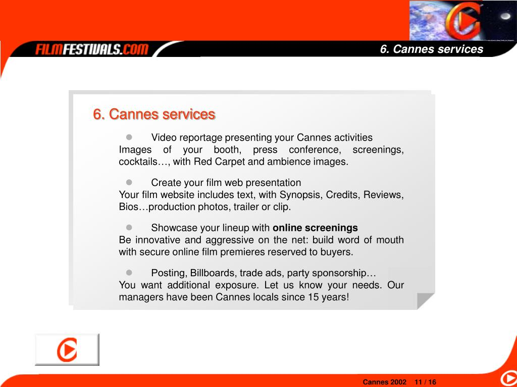 6. Cannes services