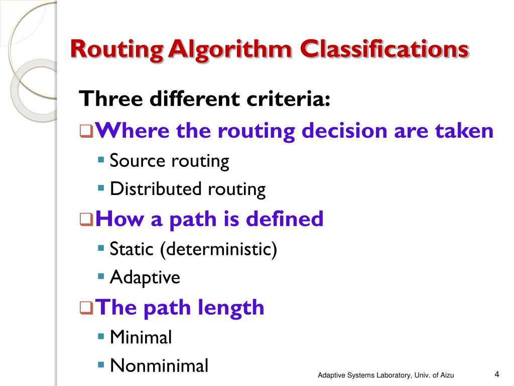 Routing Algorithm Classifications