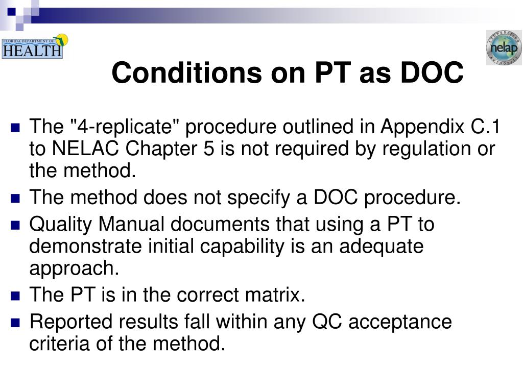Conditions on PT as DOC