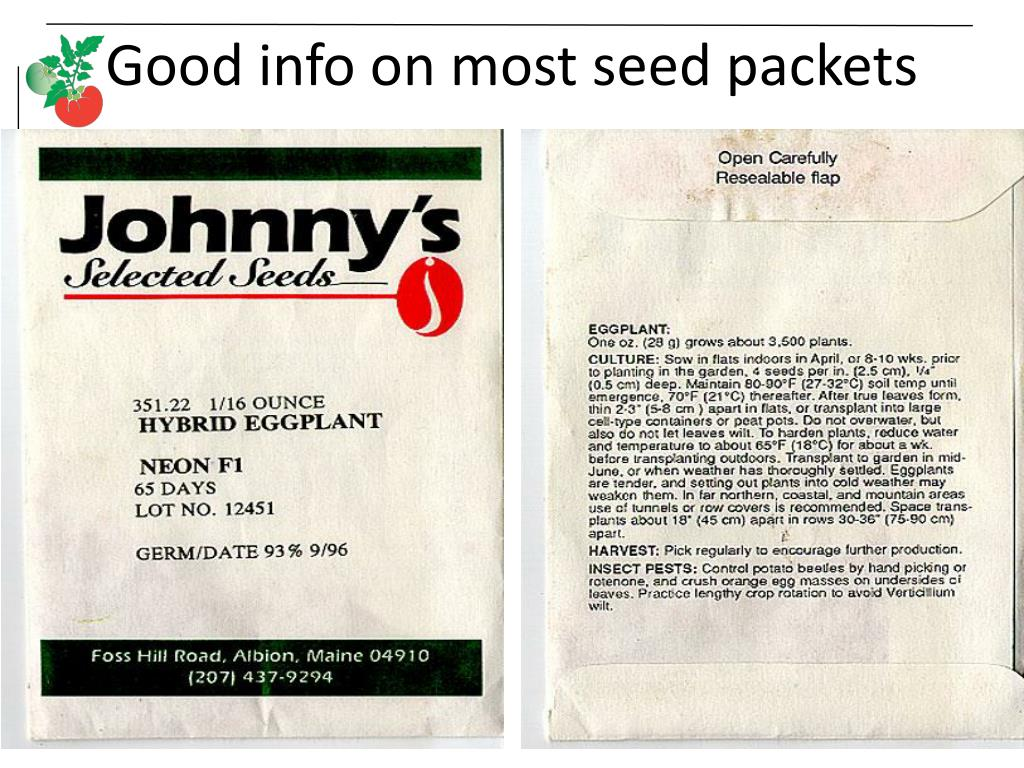 Good info on most seed packets