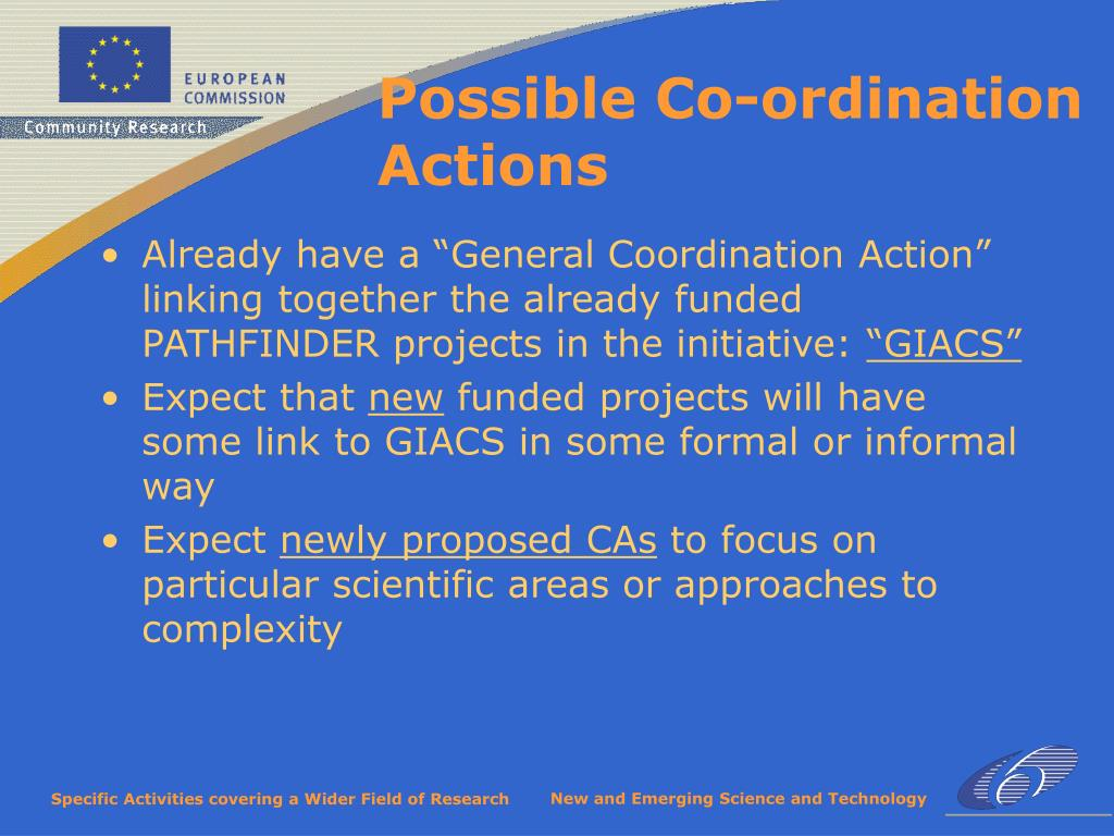 "Already have a ""General Coordination Action"" linking together the already funded PATHFINDER projects in the initiative:"