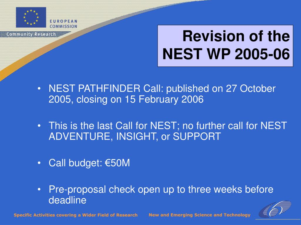 NEST PATHFINDER Call: published on 27 October 2005, closing on 15 February 2006