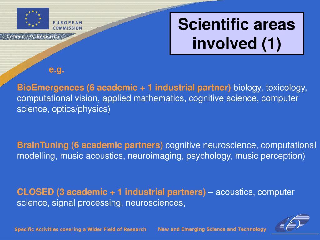 Scientific areas involved (1)