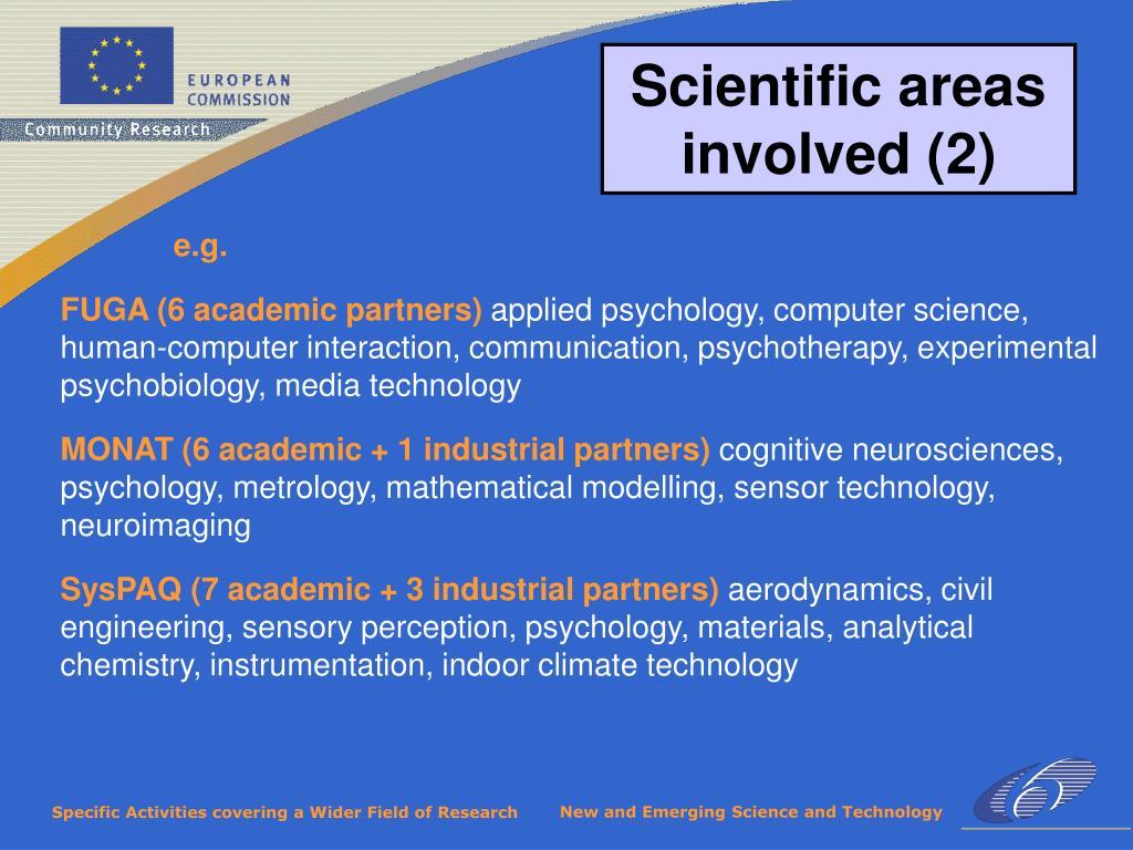 Scientific areas involved (2)