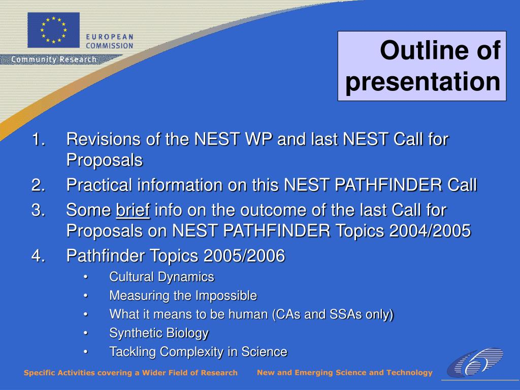 Revisions of the NEST WP and last NEST Call for Proposals
