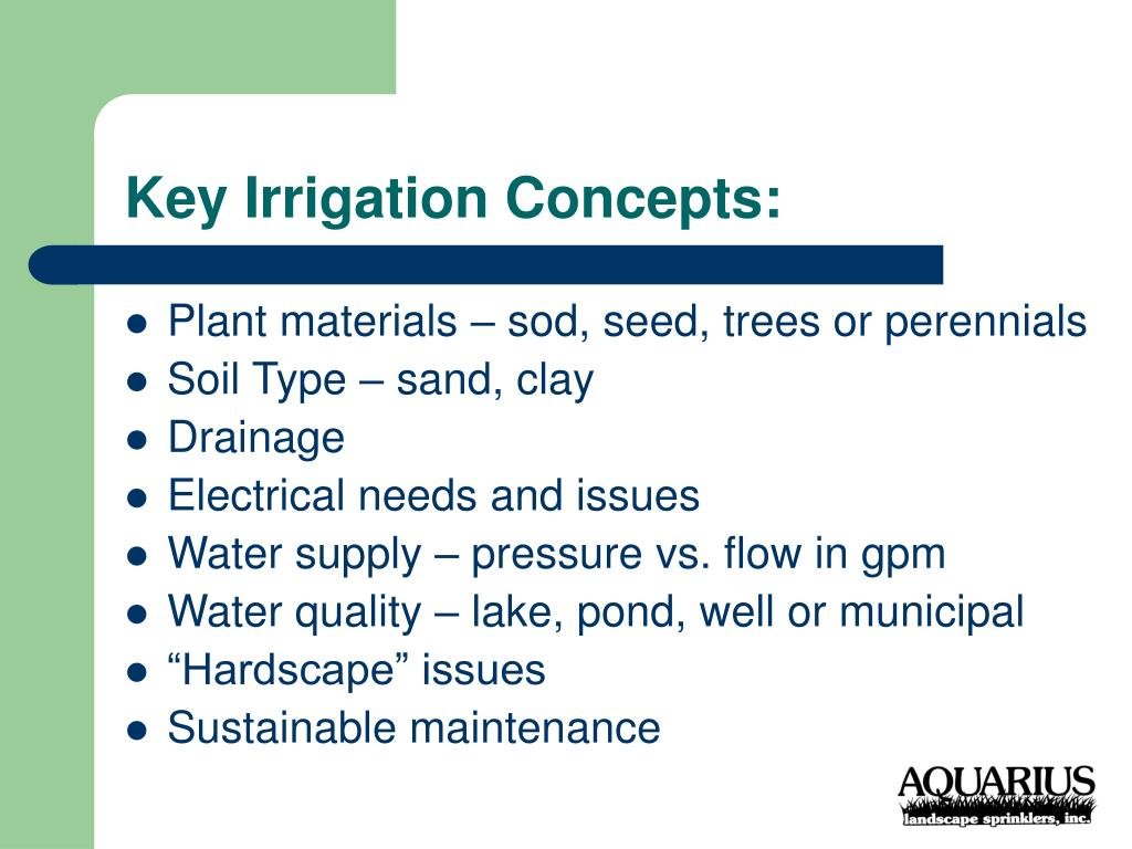 Key Irrigation Concepts: