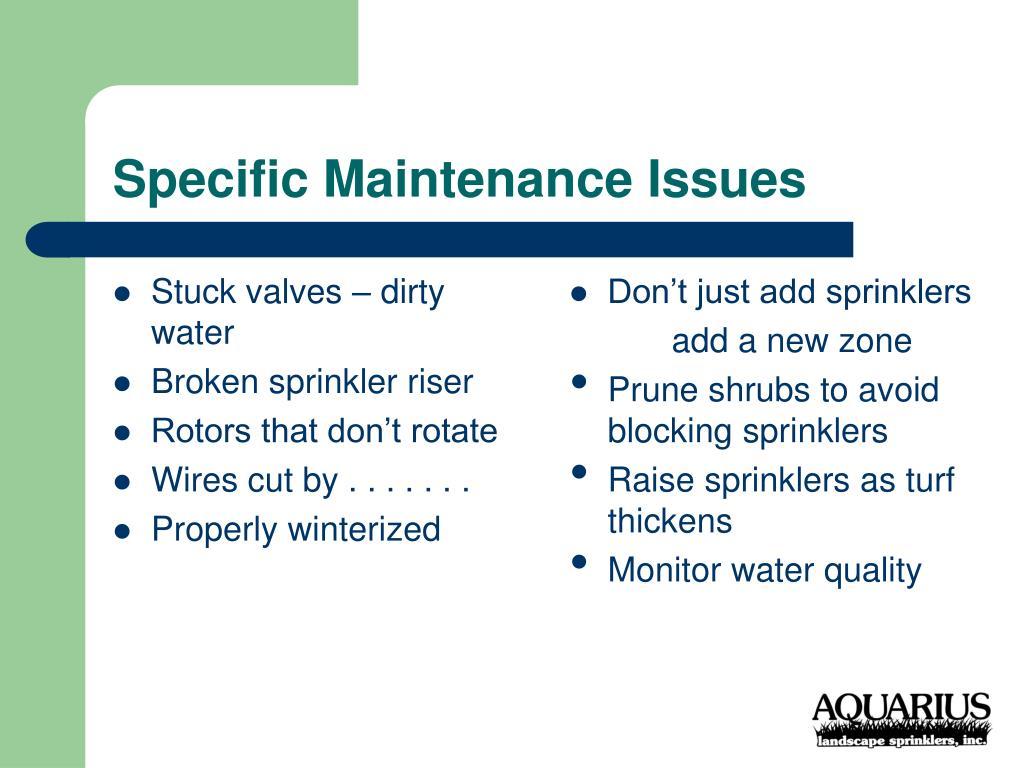 Stuck valves – dirty water