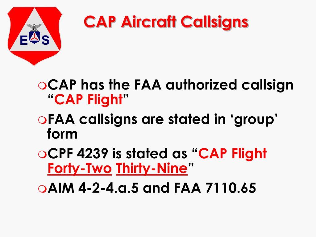 CAP Aircraft Callsigns