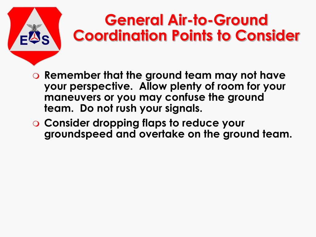 General Air-to-Ground Coordination Points to Consider