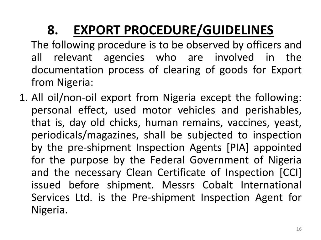EXPORT PROCEDURE/GUIDELINES