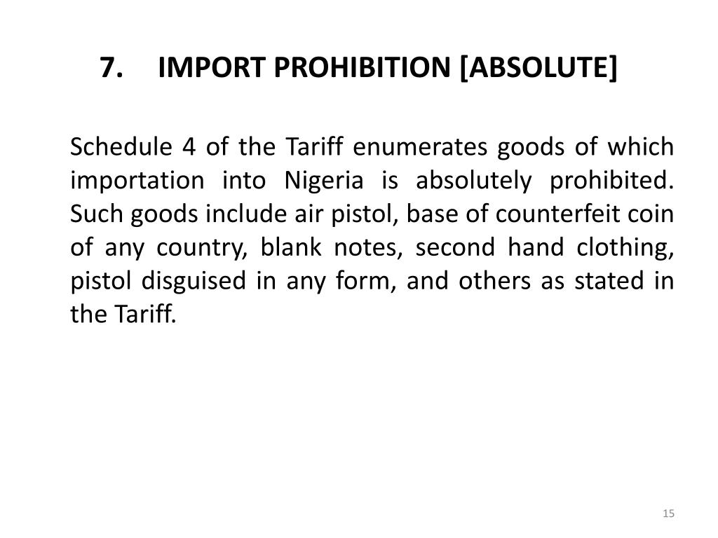 IMPORT PROHIBITION [ABSOLUTE]