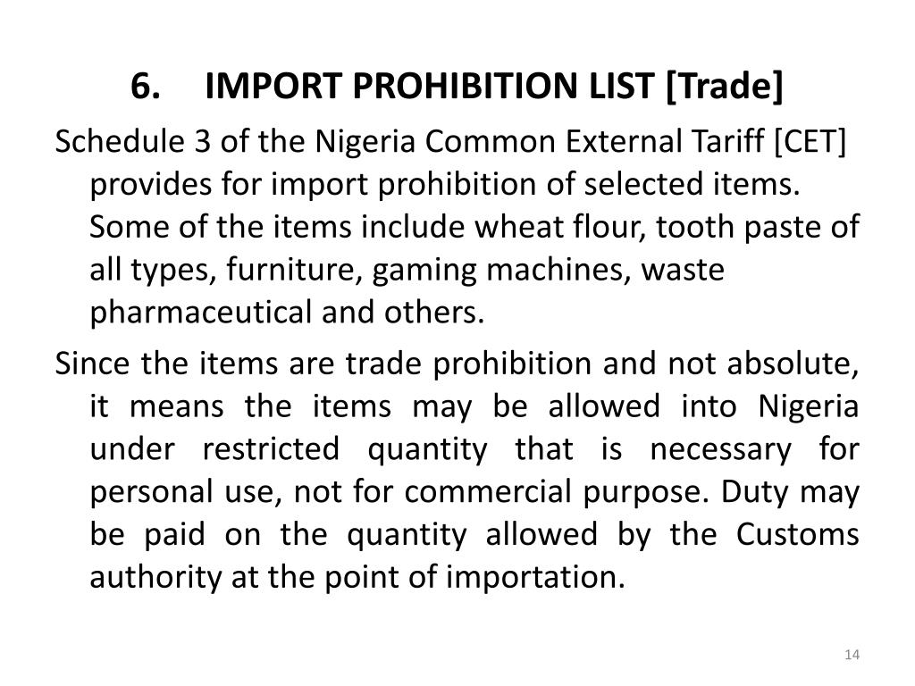 IMPORT PROHIBITION LIST [Trade]