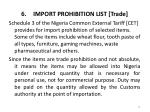 import prohibition list trade