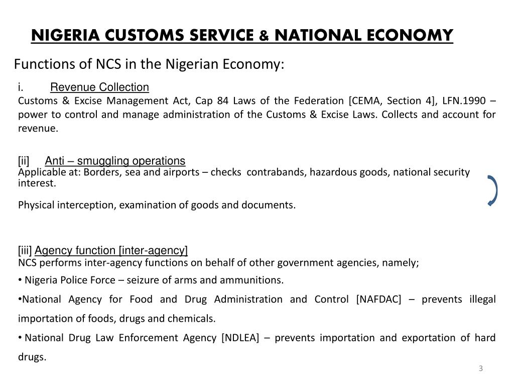 NIGERIA CUSTOMS SERVICE & NATIONAL ECONOMY