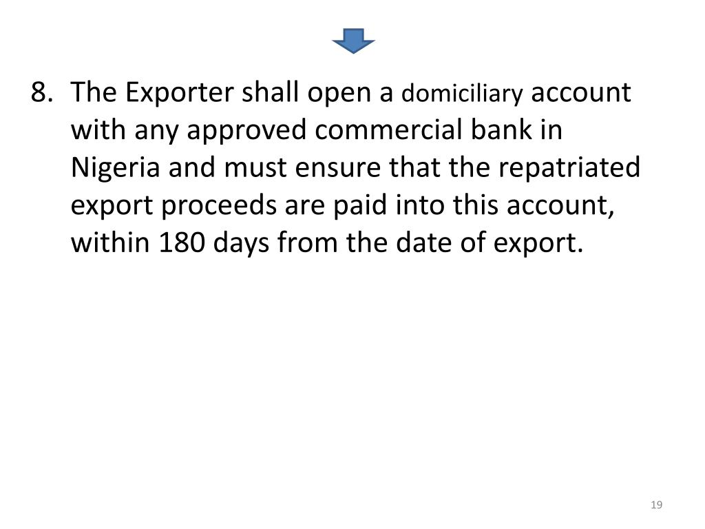 The Exporter shall open a