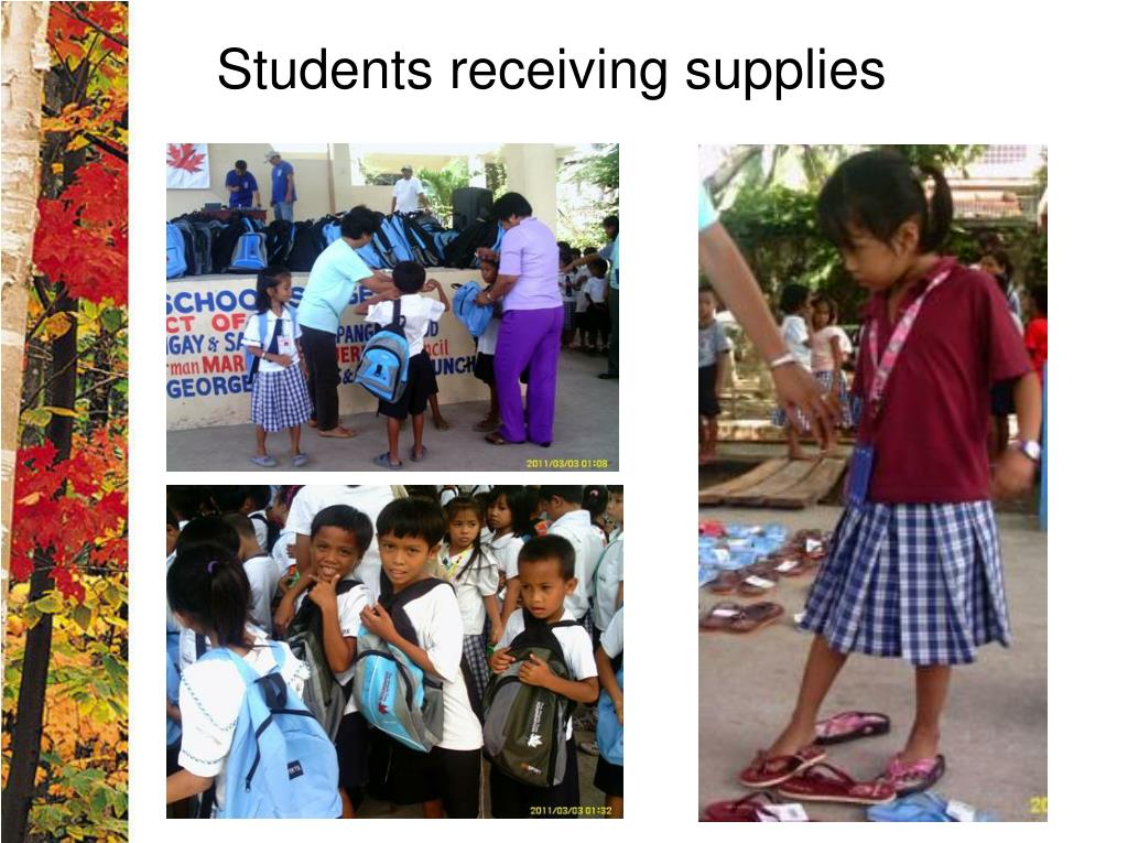 Students receiving supplies