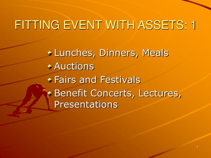 Fitting event with assets 1