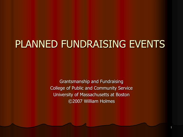 Planned fundraising events