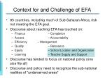 context for and challenge of efa