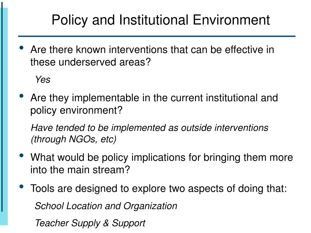 Policy and Institutional Environment