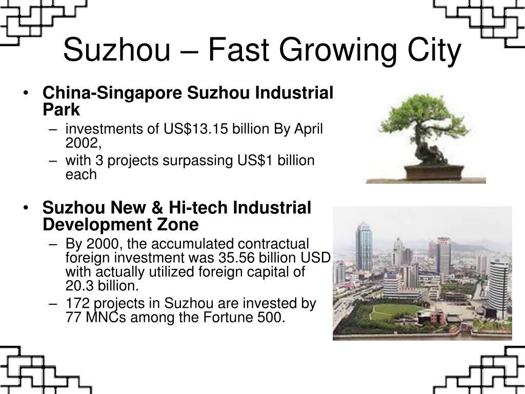 Suzhou – Fast Growing City