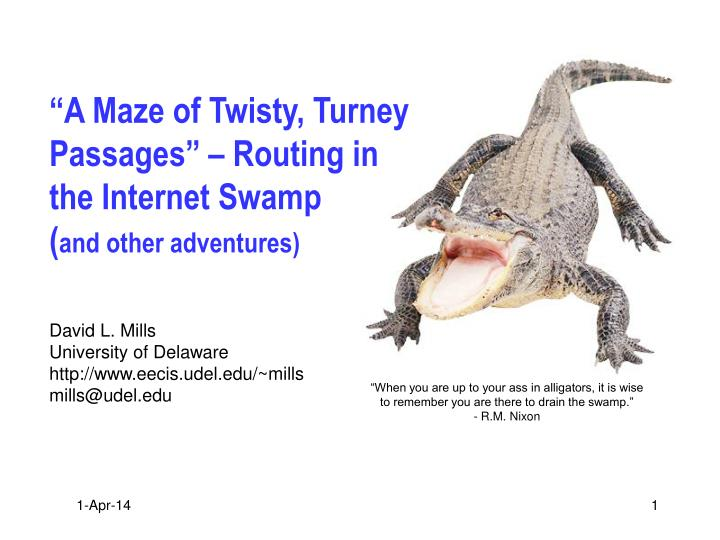 A maze of twisty turney passages routing in the internet swamp and other adventures l.jpg