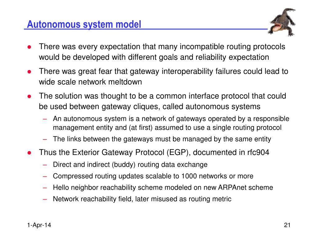 Autonomous system model