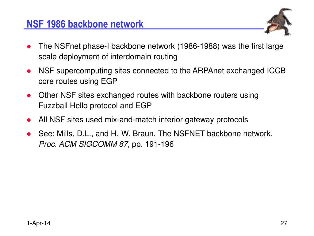 NSF 1986 backbone network