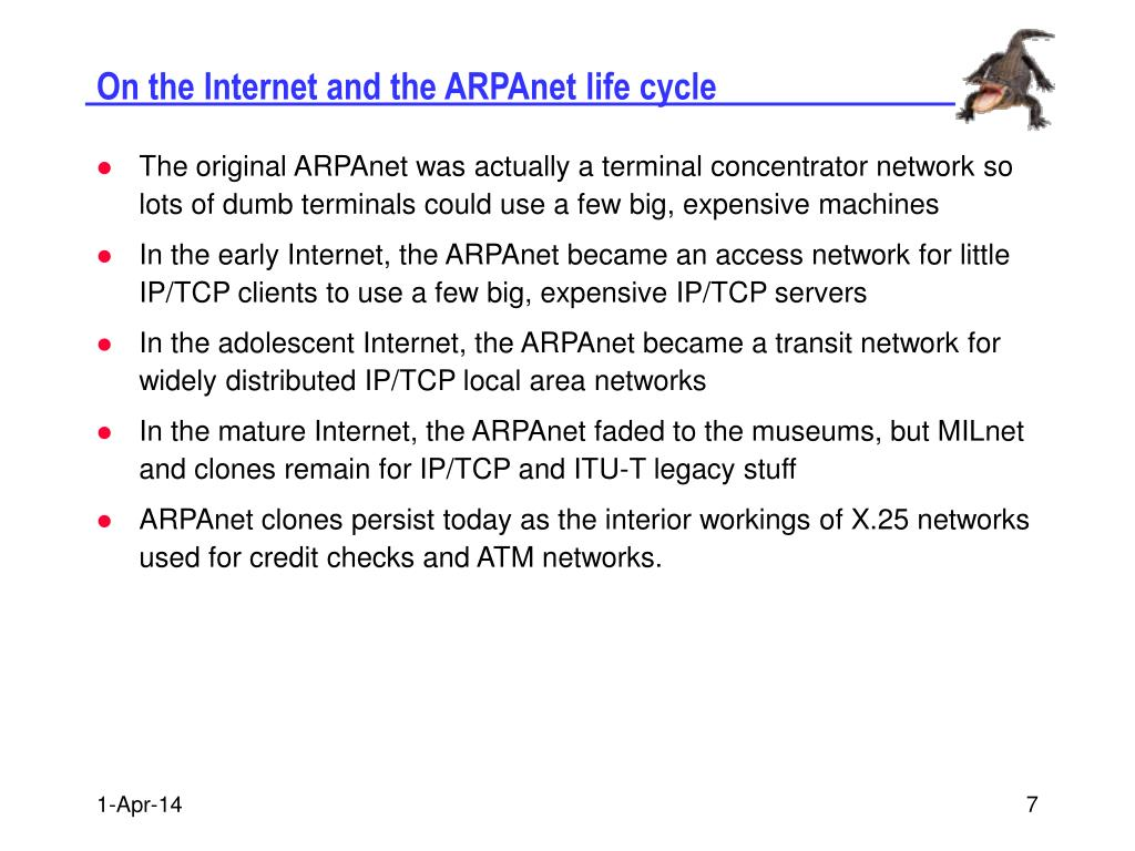 On the Internet and the ARPAnet life cycle